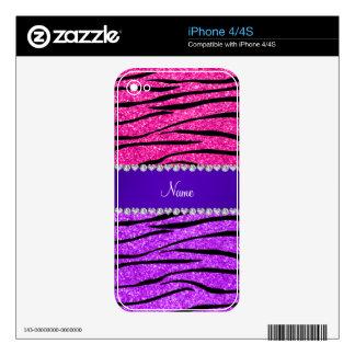 Name neon purple hot pink glitter zebra stripes iPhone 4S decal