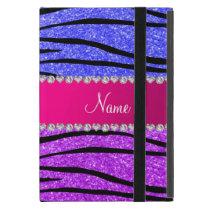 Name neon purple neon blue glitter zebra stripes iPad mini case
