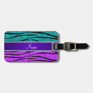 Name neon purple turquoise glitter zebra stripes bag tag
