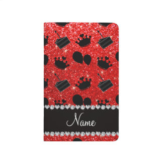Name neon red glitter crowns balloons cake journal