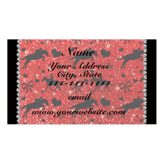 Name neon red glitter equestrian hearts bows Double-Sided standard business cards (Pack of 100)
