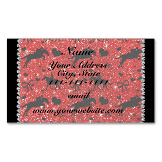 Name neon red glitter equestrian hearts bows magnetic business cards (Pack of 25)