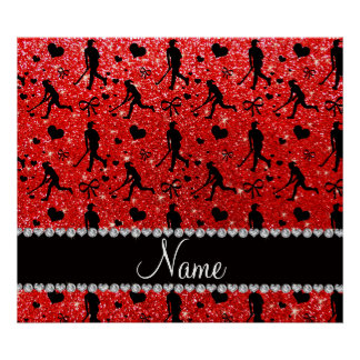 Name neon red glitter field hockey hearts bows poster