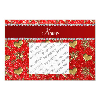 Name neon red glitter gold roses hearts photo print