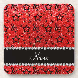 Name neon red glitter music notes stars beverage coaster