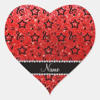 Name neon red glitter music notes stars heart sticker