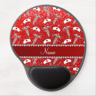 Name neon red glitter nurse hats silver caduceus gel mouse pad