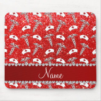 Name neon red glitter nurse hats silver caduceus mouse pad