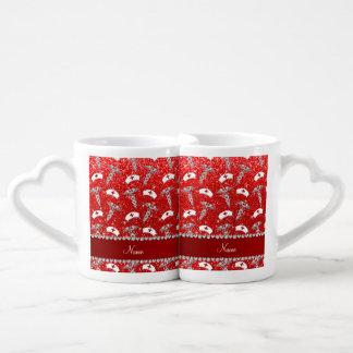 Name neon red glitter nurse hats silver caduceus couples' coffee mug set