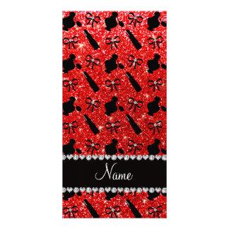name neon red glitter perfume lipstick bows photo card