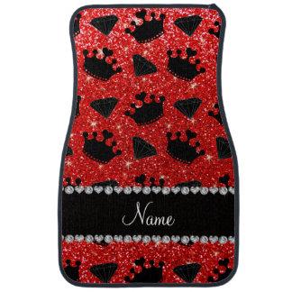 Name neon red glitter princess crowns diamonds car floor mat