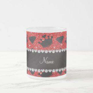 Name neon red glitter princess crowns diamonds coffee mug