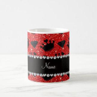 Name neon red glitter princess crowns diamonds mugs
