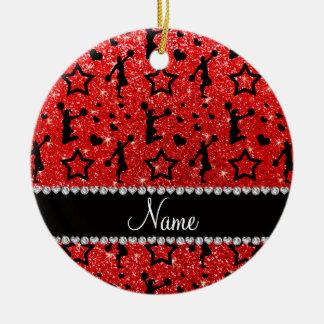 Name neon red glitter stars cheerleading ceramic ornament