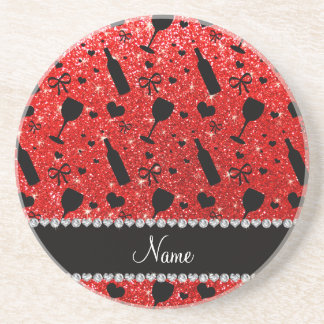 Name neon red glitter wine glass bottles coasters