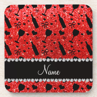 Name neon red glitter wine glass bottles beverage coasters