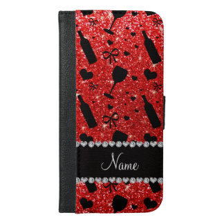 Name neon red glitter wine glass bottles iPhone 6/6s plus wallet case