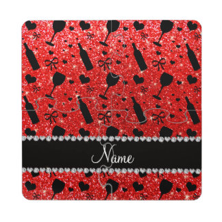 Name neon red glitter wine glass bottles puzzle coaster