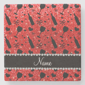 Name neon red glitter wine glass bottles stone coaster