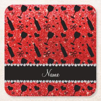 Name neon red glitter wine glass bottles square paper coaster