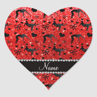 Name neon red glitter wrestling hearts bows heart sticker