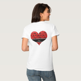 Name neon red glitter wrestling hearts bows shirt