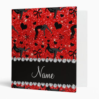 Name neon red glitter wrestling hearts bows vinyl binder