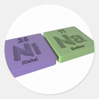 name-Nina-Ni-Na-Nickel-Sodium Classic Round Sticker