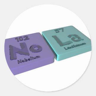 name-Nola-No-La-Nobelium-Lanthanum Classic Round Sticker