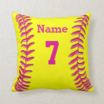 NAME, NUMBER and MONOGRAMMED Softball Pillow