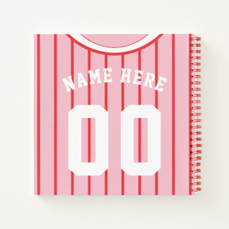 Name & Number Baseball Softball Jersey Notebook