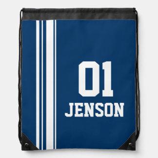 Name number blue sports stripe drawstring bag