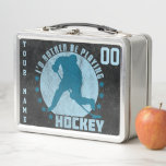 """Name &amp; Number Custom Ice Hockey Lunch Box<br><div class=""""desc"""">Ice Hockey Metal Lunch Tin. Add your own choice of name and number to the tin to make a great personalized lunch box, for school, college, office or trips! Just use the text boxes to the right side of the image. Vintage style design featuring a hockey player and the text...</div>"""