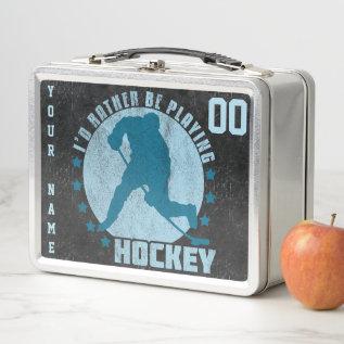 Name & Number Custom Ice Hockey Lunch Box at Zazzle