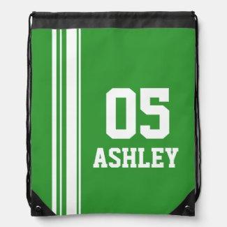 Name number green sports stripe drawstring bag