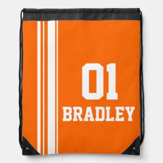 Name number orange sports stripe drawstring bag