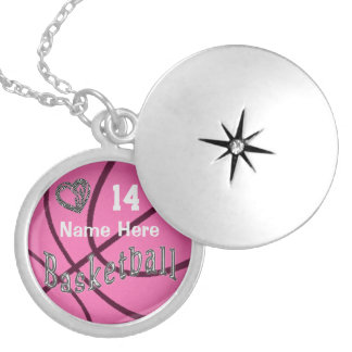 NAME & NUMBER Pink Basketball Necklaces for Girls