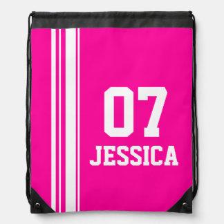 Name number pink sports stripe drawstring bag