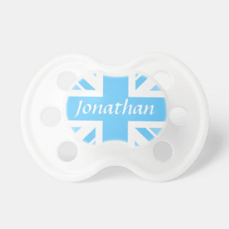 Name of Baby Boy + Union Jack Flag Pacifiers