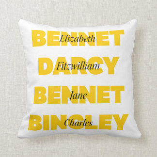 Name of Main Characters from Pride and Prejudice Throw Pillow