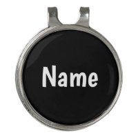 Name on black background golf hat clip