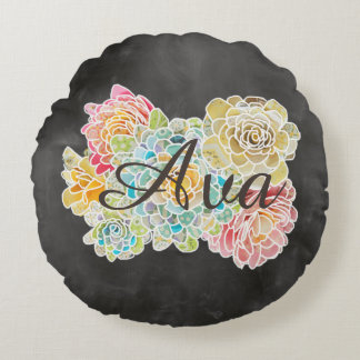 Name on Chalkboard With Flowers & Lord's Prayer - Round Pillow