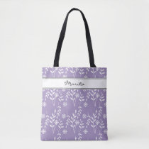 Name or Any Text Lavendar White Floral Pattern Tote Bag