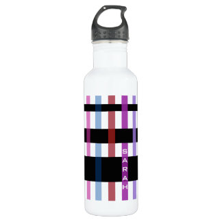 Name or Initials & Modern Weaving Stripes Stainless Steel Water Bottle