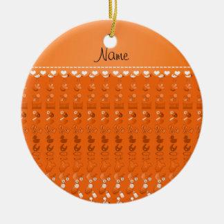 Name orange baby bottle rattle pacifier stork ceramic ornament