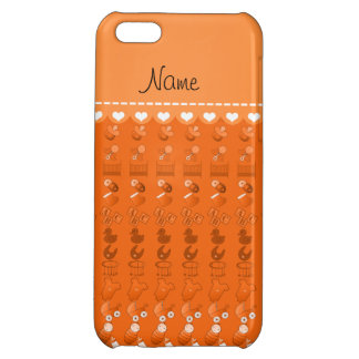 Name orange baby bottle rattle pacifier stork cover for iPhone 5C