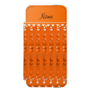Name orange baby bottle rattle pacifier stork iPhone SE/5/5s wallet case