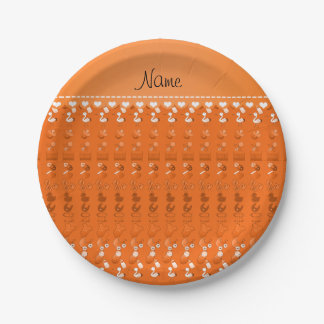 Name orange baby bottle rattle pacifier stork paper plate
