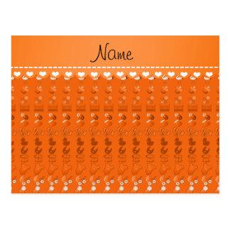 Name orange baby bottle rattle pacifier stork postcard