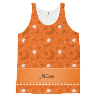Name orange baby teddy bear stars moons All-Over print tank top
